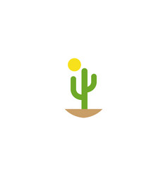 cactus and sun in desert for logo design vector image
