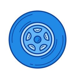 car wheel line icon vector image