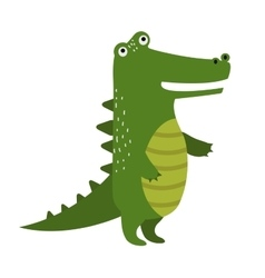 Cartoon cute crocodile isolated on white vector