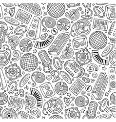 cartoon hand-drawn disco music seamless pattern vector image