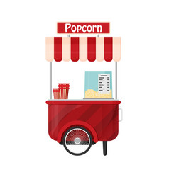 Carts retail kiosk on wheels popcorn flat vector