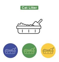 Cat litter line icon vector