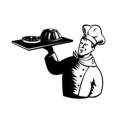 chef cook baker holding serving pastry bakery vector image