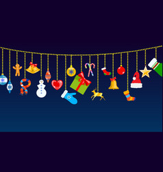 christmas symbols and warm winter clothes hanging vector image
