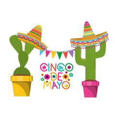 Cinco de mayo label with cactus isolated icon vector