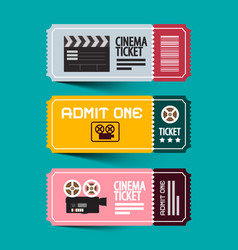 Cinema tickets set paper admit one ticket set vector