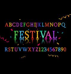 colorful vibrant fun festive party alphabet vector image