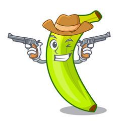 Cowboy green banana cartoon in the market vector