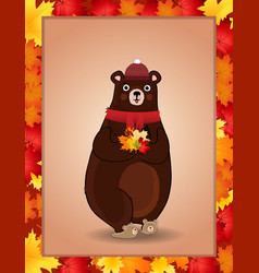 cute bear in red knitted scarf and hat holding vector image
