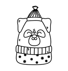 Cute dog with hat and sweater celebration merry vector