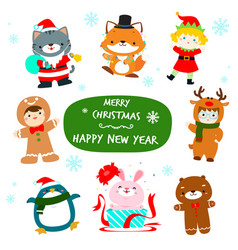 cute kids and animal in christmas character design vector image