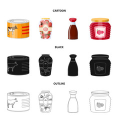 design of can and food sign set of can and vector image