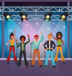 Disco artist at stage cartoon vector