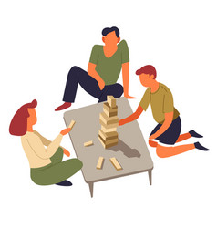 Family playing board game jenga isolated vector