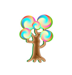 Fantasy magic caramel tree object for witchcraft vector
