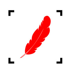 Feather sign red icon inside vector