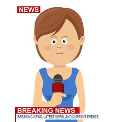 female news reporter - woman journalist vector image