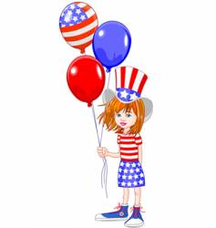 fourth of July girl vector image