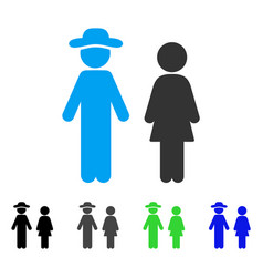 Gentleman and lady flat icon vector
