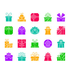 Gift color silhouette icons set vector