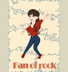 Girl rocker doing rock sign on yellow background vector