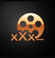 Gold film reel with inscription xxx icon isolated vector