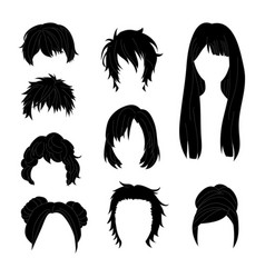 Hairstyle man and woman black2 vector