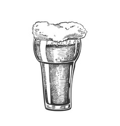 hand drawn glass with foam bubble drink vector image