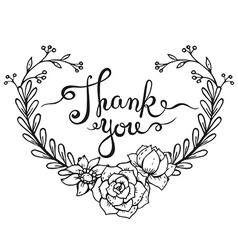 Hand lettering words thank you with floral wreath vector