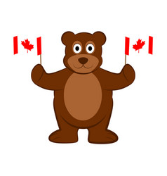 Happy bear holding canadian flags vector