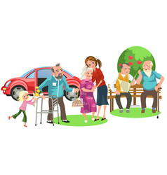 happy family with loving grandfather and vector image