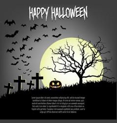 happy halloween pumpkins and cat vector image