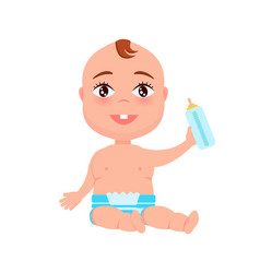 Happy infant in diaper hold bottle of milk in hand vector