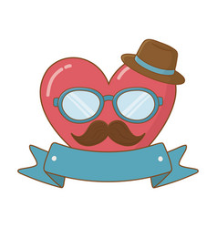 heart with glasses hat and moustache vector image