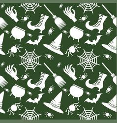 helloween seamless pattern green vector image