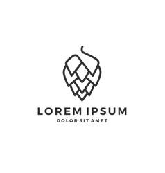 Hop brew brewery logo line outline vector