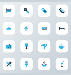 hotel icons colored set with key do not disturb vector image
