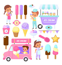 ice cream sellers cute kids with sweets vector image