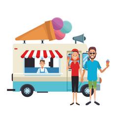 Icecream food truck vector