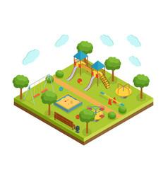 isometric big kid playground on white background vector image