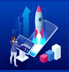 isometric business start up concept startup vector image