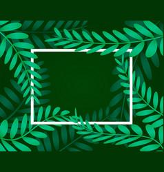 leaves frame white frame on background vector image