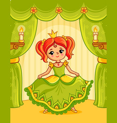 Little princess is performing on stage in a vector