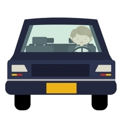 Man driving car front view vector