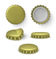 metal beer beverage bottle crown caps set vector image