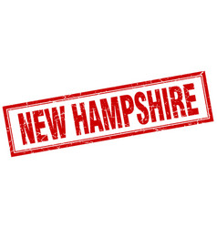 New hampshire red square grunge stamp on white vector
