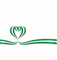 Nigerian flag heart-shaped ribbon vector