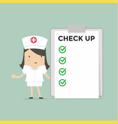 Nurse with list of medical check up vector