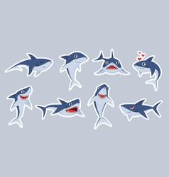 ocean shark mascot happy sharks scary jaws vector image