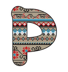 P letter decorated vector